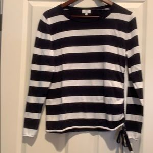Navy/White Striped Knit Sweater